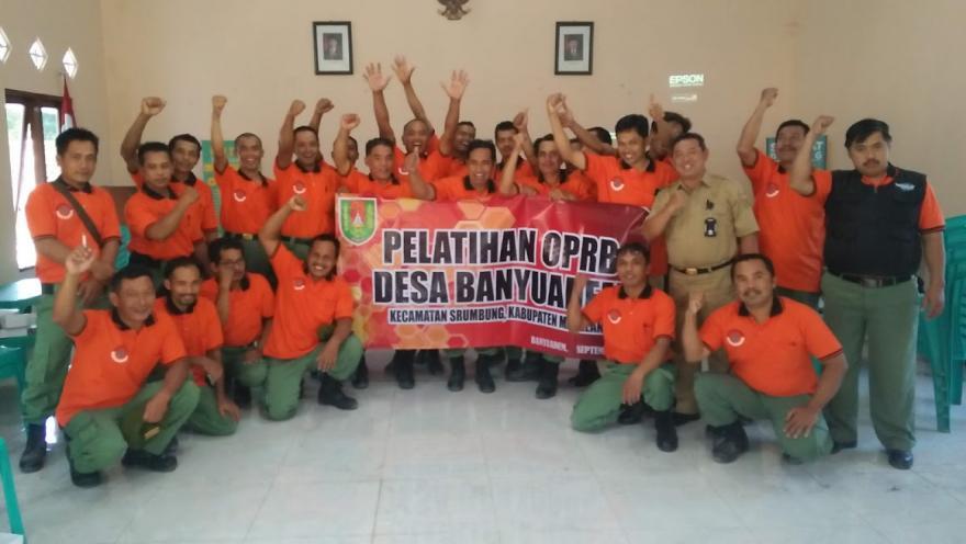 Image : Anggota Linmas dan OPRB Desa Banyuadem Diberi Pelatihan Pengurangan Resiko Bencana